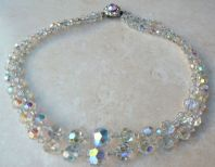 Vintage Aurora Borealis Faceted Crystal Double Stranded Necklace By Exquisite.